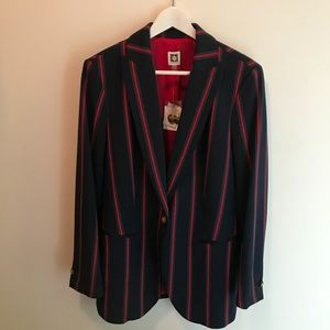 Anne Klein | Marine Blue Striped Blazer | NWT